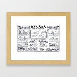 Vintage Illustrative Map of Kansas (1912) Framed Art Print