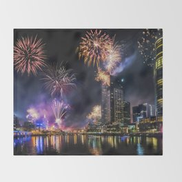 New Year Fireworks Throw Blanket