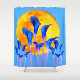 GOLDEN FULL MOON BLUE CALLA LILIES BLUE ART Shower Curtain