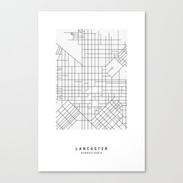 Lancaster, PA Simple Map Canvas Print