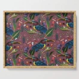 tropical birds with mushroom - BR Serving Tray