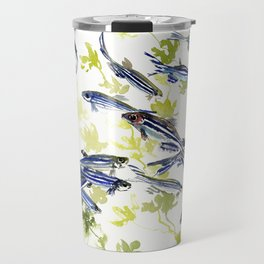 Fish Blue green fish design zebra fish, Danio aquarium Aquatic design underwater scene Travel Mug