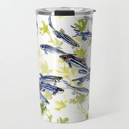 Fish Blue green fish design zebra fish, Danio aquarium Aquatic design underwater scene Travel Mug