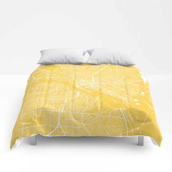 Dallas map yellow Comforters