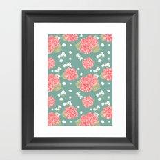Sweet Carnation Flower Seamless Pattern Framed Art Print