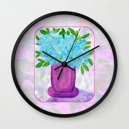 Magenta Vase with Aqua Flowers Wall Clock