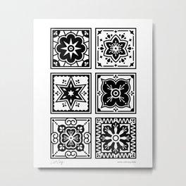 Talavera Mexican Tile – Black Metal Print