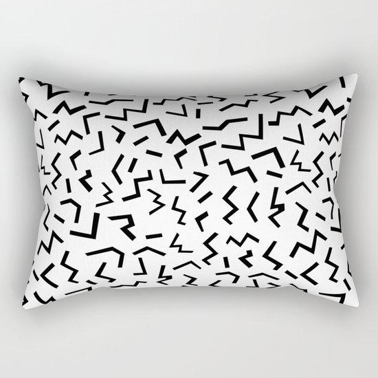 Maxie - black and white minimal modern abstract squiggle stripe dot lines geometric pattern urban  Rectangular Pillow