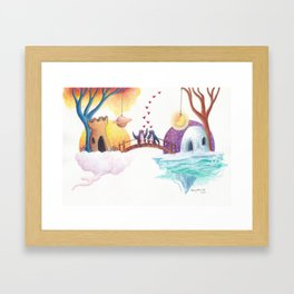 Penguins Connect on the Bridge Between Their Homes Framed Art Print