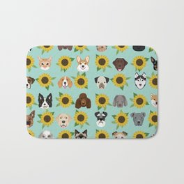 Dogs and cats pet friendly sunflowers animal lover gifts dog breeds cat person Bath Mat