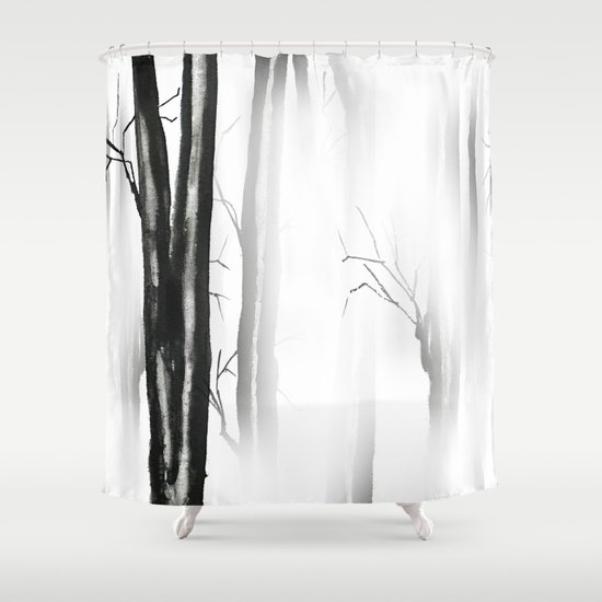 wood, snow and fog Shower Curtain