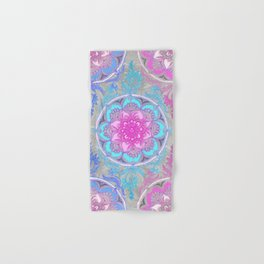 Pink, Purple and Turquoise Super Boho Doodle Medallions Hand & Bath Towel