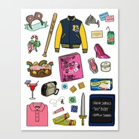 mean girls Canvas Prints featuring Mean Girls by Shanti Draws