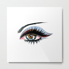 Blue eye with make up Metal Print
