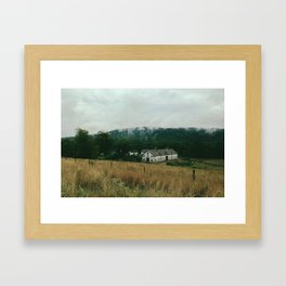 Foggy Barn Framed Art Print