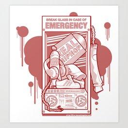 Emergency Hip Hop Red Art Print