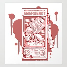 Emergency Hip Hop Red Art Print