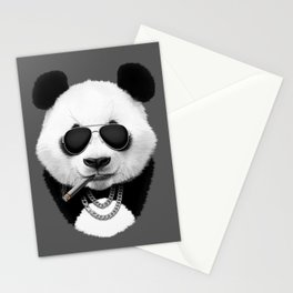 Panda in Black Stationery Cards