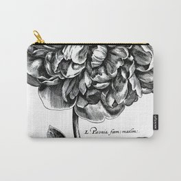 Black and White Peony Carry-All Pouch
