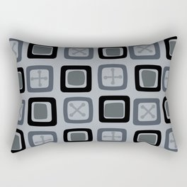 Mid Century Modern Squares Lines Slate Gray Black Rectangular Pillow