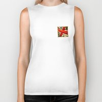 sticker Biker Tanks featuring Sticker with UK flag by Lulla