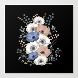 Anemones bouquet in black Canvas Print