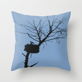 Silhouette Of Stalk Nest and Fledglings Vector Throw Pillow