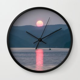 Sunset over the Fjord du Saguenay Wall Clock