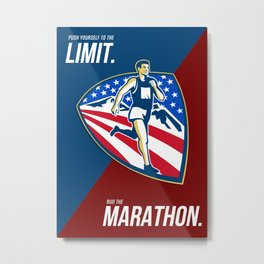 American Marathon Runner Push Limits Retro Poster Metal Print