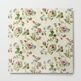 Floreal pattern, spring and vintage background Metal Print