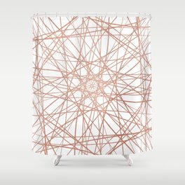 Geometric Elegant  Rose Gold Abstract Art Shower Curtain
