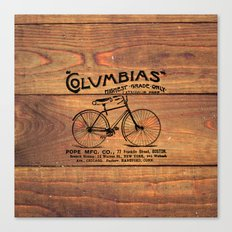 Black Brown Vintage American Bicycle on Wood Print Canvas Print