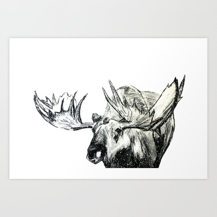 Moose woodland animal snow edit pencil sketch art print