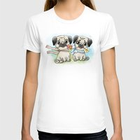 pugs T-shirts featuring Cute pugs by Anna Syroed