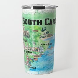 USA South Carolina State Travel Poster Map with Tourist Highlights Travel Mug