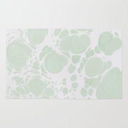 Ebru Paper Marbling Pastel Green Paint Spill Bubbles Rug