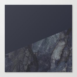 Marble Geometric Navy Blue Indigo Canvas Print