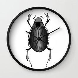 Egyptian Scarab Beetle Gray Black Wall Clock
