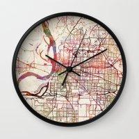 memphis Wall Clocks featuring Memphis by MapMapMaps.Watercolors