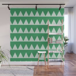 Modern Christmas Dots Triangles in Happy Green Wall Mural
