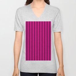 Hot Pink Stripes Pattern Unisex V-Neck