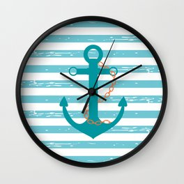 AFE Nautical Teal Ship Anchor Wall Clock