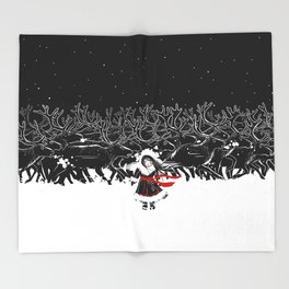 Night of Reindeer Throw Blanket