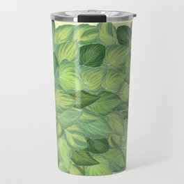 Citric Hostas, leaves arrangement in a tower shape Travel Mug
