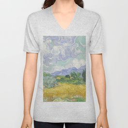 A Wheatfield with Cypresses by Vincent van Gogh Unisex V-Neck