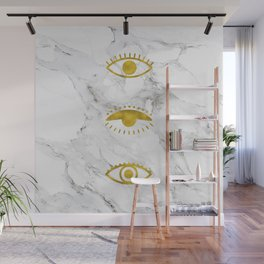 Golden Eyes on Marble Wall Mural