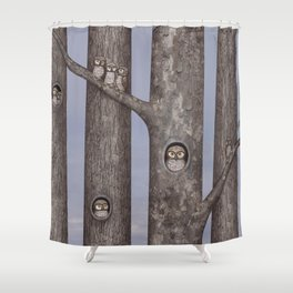 owls in trees Shower Curtain