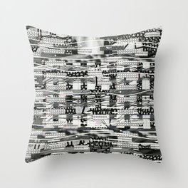 The System Affects The Information That Flows Through It (P/D3 Glitch Collage Studies) Throw Pillow