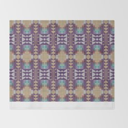 Purple Teal Turquoise Orange Mosaic Pattern Throw Blanket