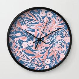 Tropical Daydream Coral Blue Wall Clock